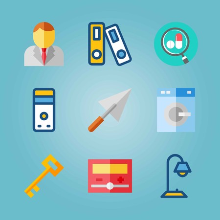 Icon set about real assets with archive, washing machine, businessman and more. Illustration