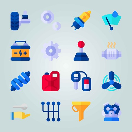 Icon set about car engine with wheel, ventilator, Jerry can and more.