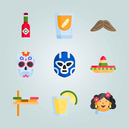 Icon set about Mexican Holiday De Mayo. with mezcal, matraca  and musical instrument