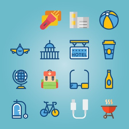 icon set about Travel with flashlight, cable, chat, glasses and balloon Ilustracja