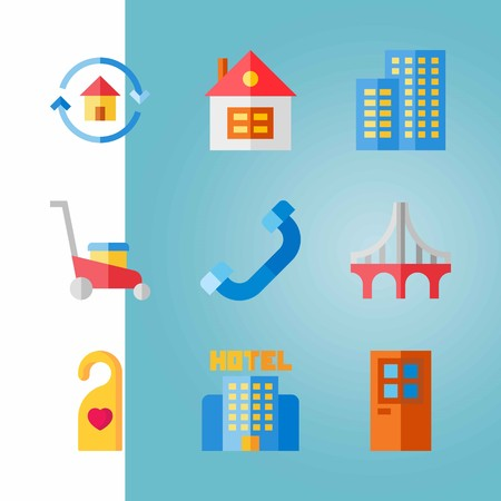 Icon set about real assets with house, hotel, home and more.
