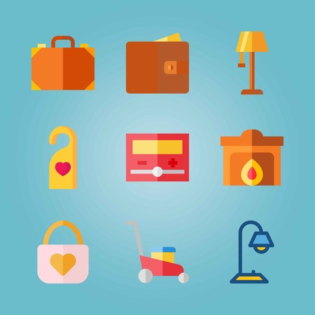 Icon set about real assets with bag, doorknob, padlock and more. Illustration