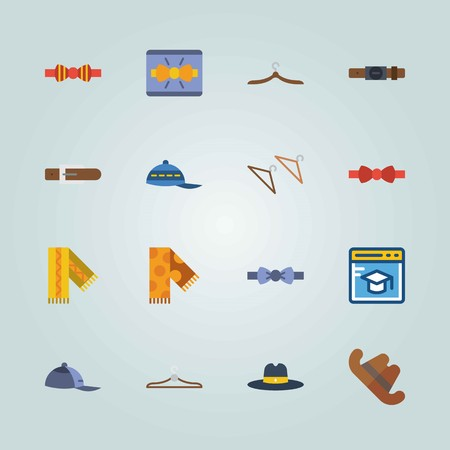 Icon set about man accessories with cowboy hat, browser, scarf and more. Illustration