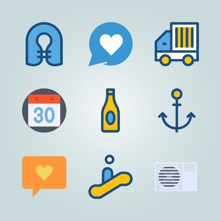 Icon set about travel with calendar, anchor, delivery truck, man on escalator and life jacket.