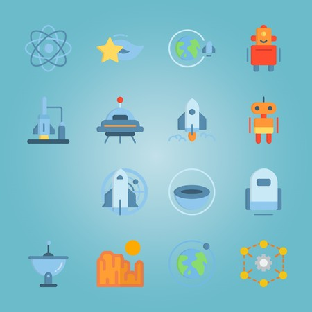 Icon set about universe with star, planet earth, system of planets, moon and planet. Illustration