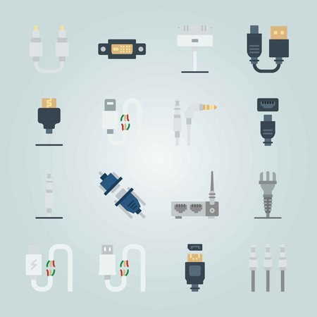 Icon set about Connectors Cables. with router, cables and hdmi cable Vectores