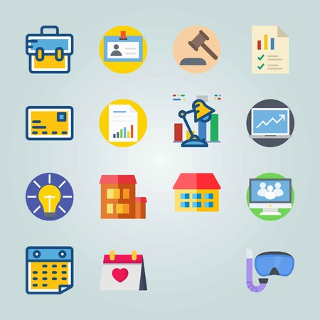 Icon set about Digital Marketing. with briefcase, columns and graphic Ilustracja