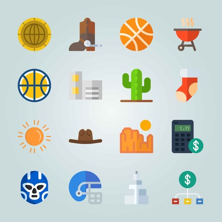 Icon set about United States. with building, coin and empire state building Illustration