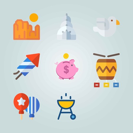 Icon set about United States. with coin, diagram and fireworks