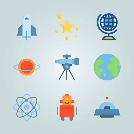 Icon set about Universe. with stars, planet earth and alien