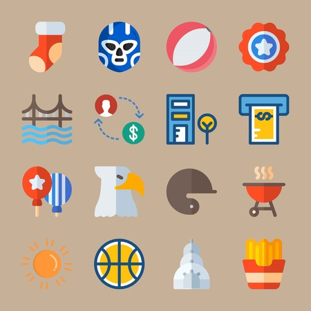 Icon set about United States. with christmas sock, exchange and badge