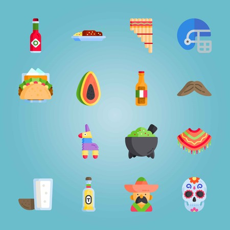Icon set about Mexican Holiday De Mayo. with helmet, mexican dish and zampona