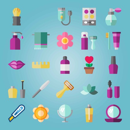Icon set about Beauty. with shaving set, shaving  and shaver machine