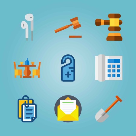 Icon set about Real Assets. with letter, domestic phone and paddle