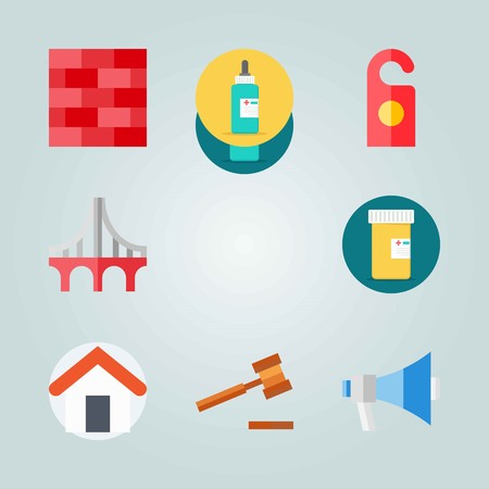 Icon set about Real Assets. with hammer, home and bricks