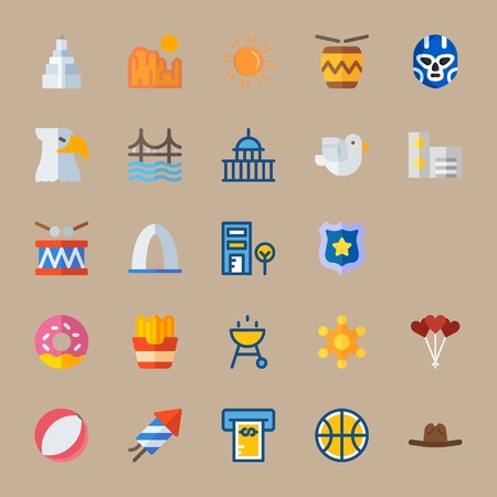 icon set about united states with capitol, telephone cab and donut Illustration