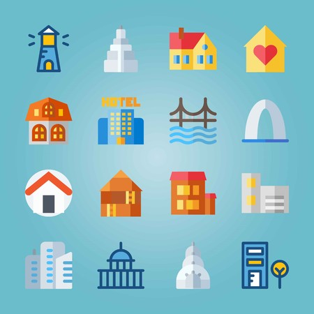 Icon set about Construction. with house, buildings and building