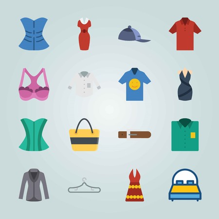 Icon set about Clothes And Accessories. with beach bag, bag and shirt