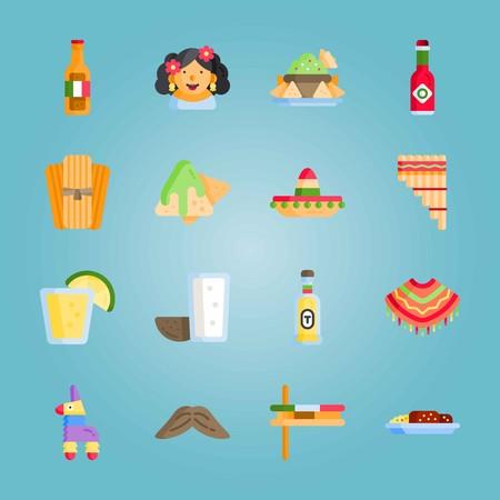 Icon set about Mexican Holiday De Mayo. with mole poblano, tabasco and zampona Illustration