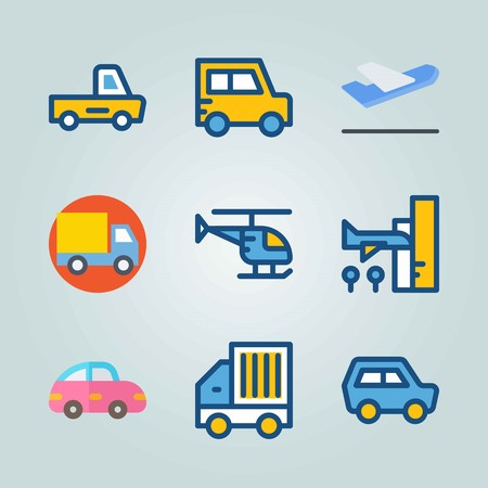 Icon set about Transport. with mini car, helicopter and arrival
