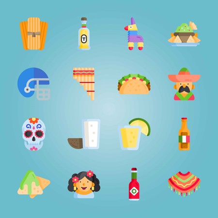 Icon set about Mexican Holiday De Mayo. with helmet, american football and zampona