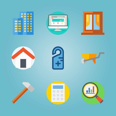 Icon set about Real Assets. with calculator, house and window