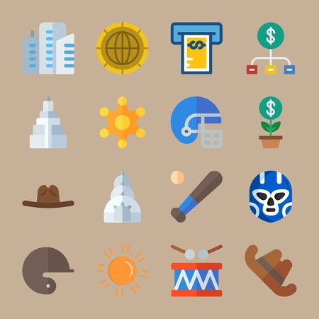 Icon set about United States. with empire state building, dollar and american football
