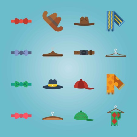 Icon set about Man Accessories. with bow tie, cap and green cap