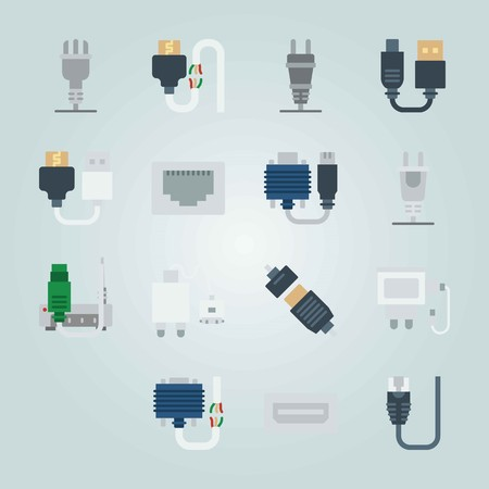 Icon set about Connectors Cables. with broken cable and charger