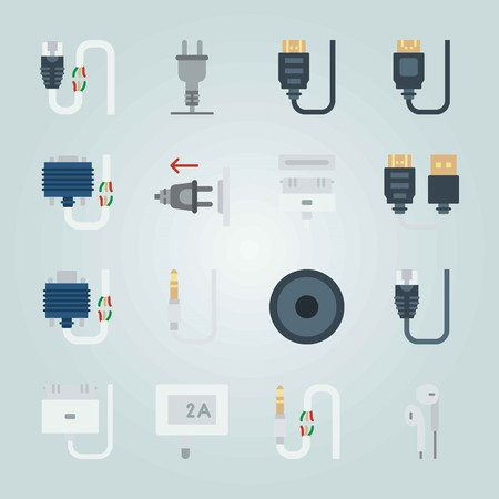Icon set about Connectors Cables. with audio column, earphones and plug 向量圖像