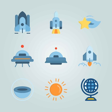 Icon set about Universe. with alien, spacecraft and star