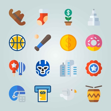 Icon set about United States. with donut, helmet and ball