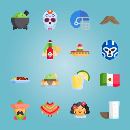 Icon set about Mexican Holiday De Mayo. with nachos, pulque and tequila