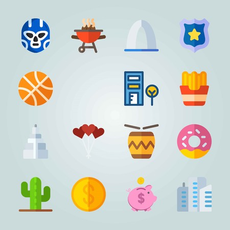 Icon set about United States. with cookie, french fries and basketball