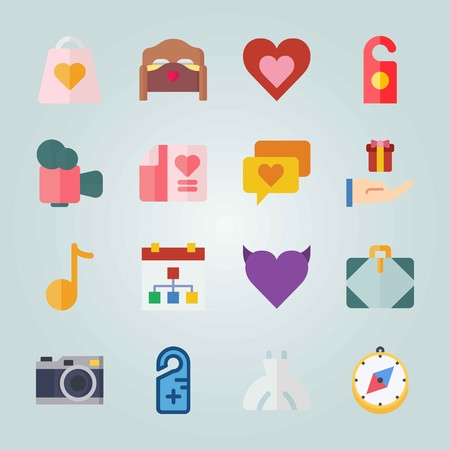 Icon set about Wedding. with calendar, direction and bed Иллюстрация