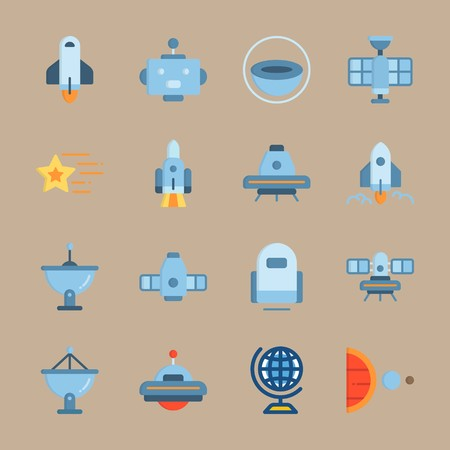 Icon set about Universe. with planet, earth and spacecraft