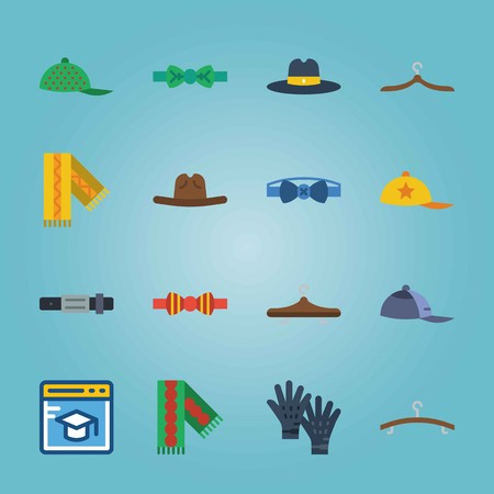 Icon set about Man Accessories. with hanger, fedora hat and blue bow tie Illustration