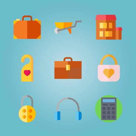 Icon set about Real Assets. with calculator, doorknob and padlock