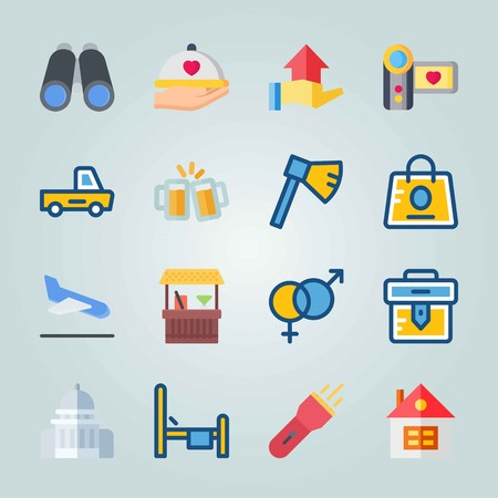Icon set about Travel. with house, briefcase and light