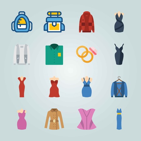 Icon set about Clothes And Accessories. with corset, school backpack and bag