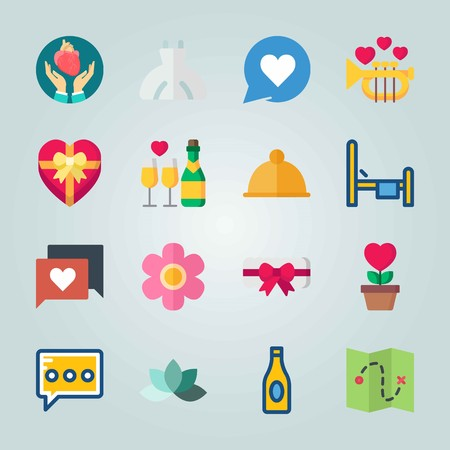 Icon set about Wedding. with beer, trumpet and pink flower Иллюстрация
