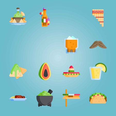 Icon set about Mexican Holiday De Mayo. with papaya, mexican beer and matraca