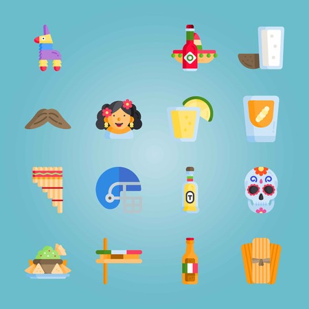 Icon set about Mexican Holiday De Mayo. with tabasco, american football and moustache Illustration