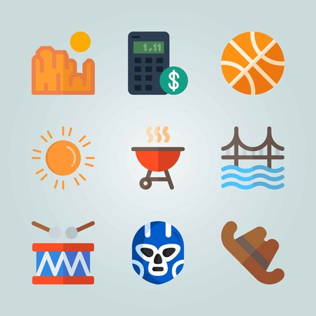 Icon set about United States. with helmet, basketball and dollar