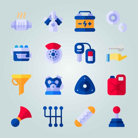 Icon set about Car Engine. with canister, accumulator and catalytic converter Illustration