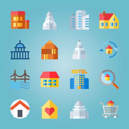 Icon set about Construction. with empire state building, house and golden gate Illustration