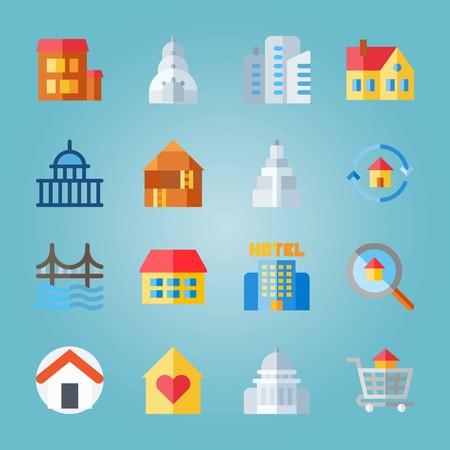 Icon set about Construction. avec empire state building, maison et porte d'or Banque d'images - 94543194