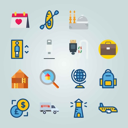 Icon set about Travel. with location, lighthouse and case