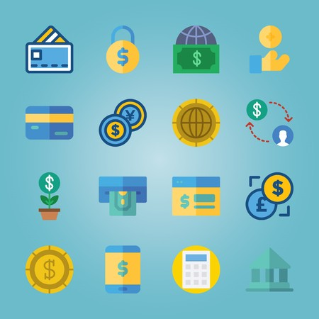 icon set about Currency with coin, credit card, bank, atm and padlock Vectores