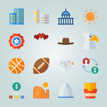 Icon set about United States. with money, flats and american football ball